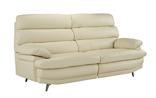 Divano Roma Furniture Classic Real Leather Sofa Couch (Beige)