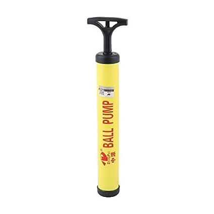eDealMax Bomba de aire cubierta plástica Voleibol Baloncesto Mano Para inflar Negro Amarillo