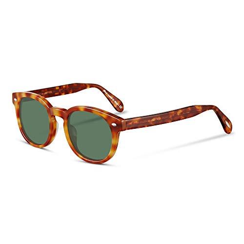 EyeGlow Vintage Round Sunglasses Women Sunglasses Men Designers 5235 Acetate material(Amber vs green lens, As ()