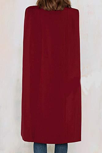 Avant Fente Ouverte Cardigan Yulinge Trench Blazer Rouge Femmes Outwear 1wEqzUP