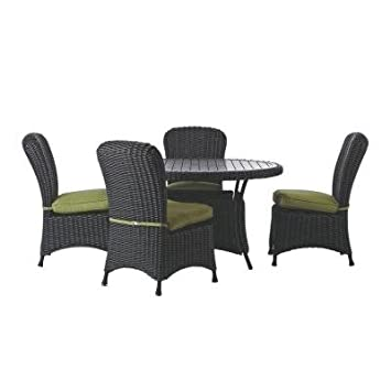 Martha Stewart Living Lake Adela Charcoal 5 Piece Patio Dining Set With  Cilantro Cushions