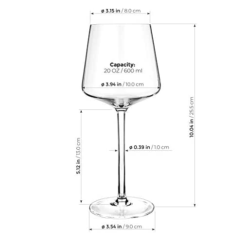 Luxbe - Crystal Wine Glasses 20.5-ounce, Set of 4 - Red or White Wine Large Glasses - 600ml |