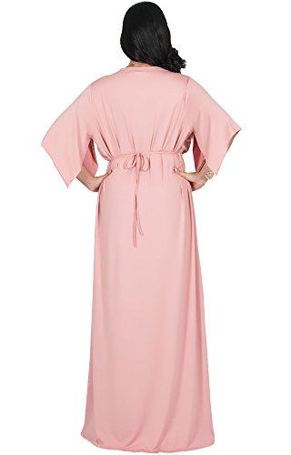 eae6fe33451 Adelyn   Vivian Plus Size Womens Long V-Neck Kaftan Short Sleeve Maxi Dress