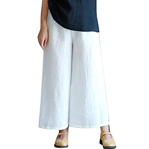 iYYVV Womens Elastic Waist Casual Cotton Linen Loose Trousers Cropped Wide Leg Pants...