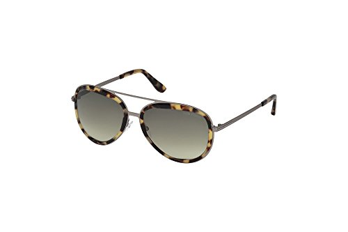 Tom Ford - ANDY FT 0468, Aviator, metal, men, LIGHT TORTOISE/GREEN SHADED(53P A), - Tom Ford Aviator