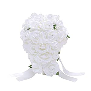 Bodarind Rose Waterfalls Design Artificial Flowers Rose Rhinestone Bridal Bouquet for Wedding 92