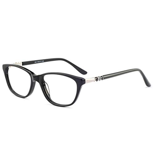 (OCCI CHIARI Women Casual Eyewear Frames Non-Prescription Clear Lens Eyeglasses (Black_50))