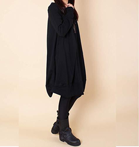 Rond Col Chemise Elonglin Casual Lache Tuniques Asymtrique Noir Poche Manches Longues Femmes Chemisier Simples avec qAtBI1