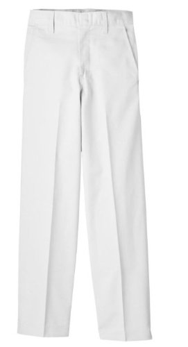 Dickies Big Boys' Classic Flat Front Pant, White, 16 Regular