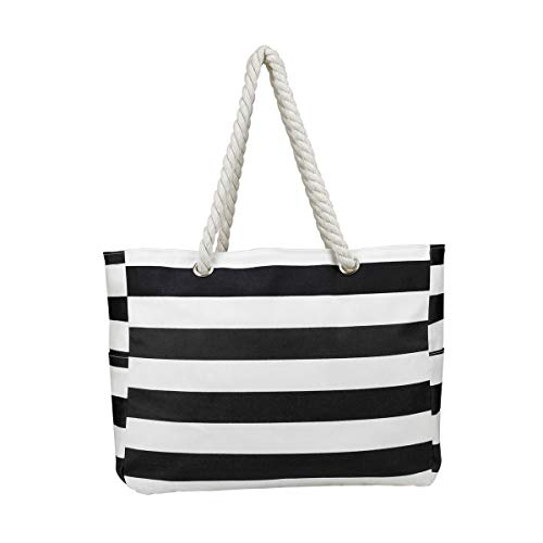 Large Beach Bag 100% Waterproof Summer Bag/ 2 Side Pockets And Interior Zipper Purse,Lining Bag,Top Magnet Clasp Bag With Rope Handles (Black - Rope Handle Bag Beach