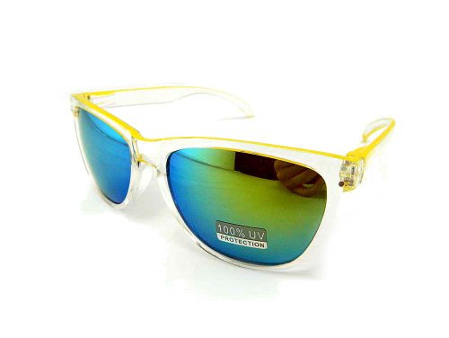New Promotional Budget Wayfarer Retro Crystal 2-Tone Sunglasses - Flash Mirror Lens (Green, Blue - Business Glasses Risky