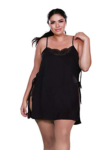 (Dreamgirl Women's Plus Size Soft Spandex Jersey Toga Chemise, Black 2X)