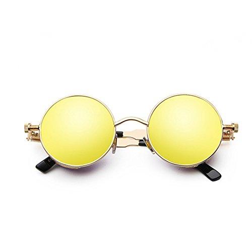 Golden Marco de Lente retro color moda de de círculo de de metal Gafas sol Yefree Gafas sol de Y4TTAq