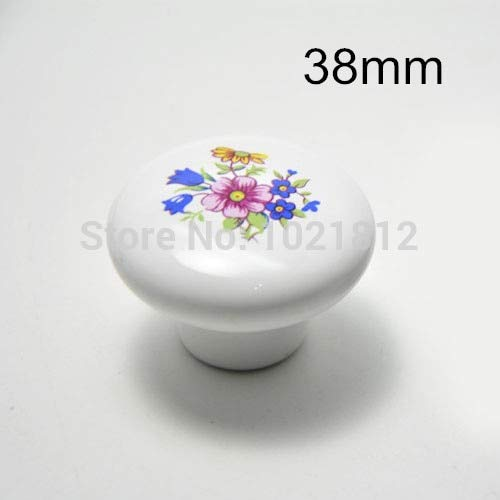 38mm Wildflowers Ceramic Cabinet Knobs Cabinet Cupboard Closet Dresser Knobs Handles Pulls Knobs Kitchen Bedroom (Wildflowers Knob)