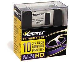 Memorex - 10 x floppy disk - 1.44 MB - black - PC - storage media