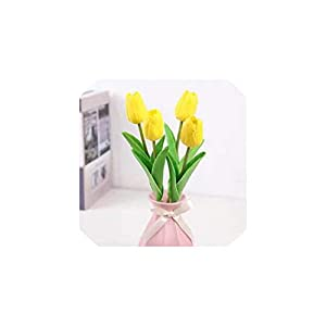 Fashion-LN 1Pcs Tulip Artificial Flowers Real Touch Bouquet Flowers for Home Gift Wedding Decorative Flowers,Yellow 69