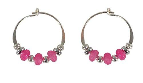 (Bali Sky Small Sterling Silver Pink Beaded Hoop Earrings SHS064)