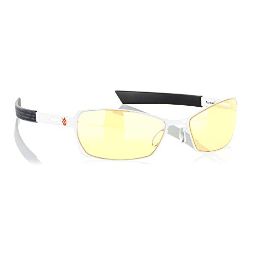 Gunnar Optiks SCO-00701 Steel Series Scope Full Rim Advanced Video Gaming Glasses with Amber Lens Tint, Snow/Carbon Frame Finish (Am Forged Rims)