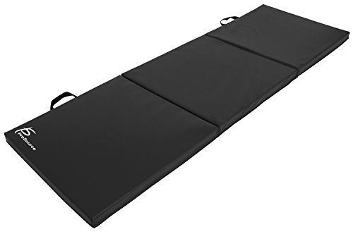 ProSource Tri-Fold Folding Thick Exercise Mat 6'x2' with Carrying Handles for MMA, Gymnastics, Stretching, Core Workouts