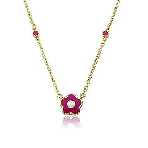 Little Miss Twin Stars Frosted Flowers 14k Gold-Plated Hot Pink Flower With White Center & Dotted Chain (Little Miss Twin Stars Necklace)