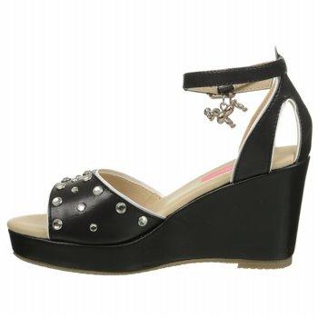 Isaac Mizrahi Ashley 2 Black Nappa Wedge Sandals US 5//EUR 37
