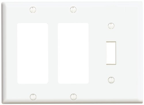 Leviton 80431-W 3-Gang 1-Toggle 2-Decora/GFCI Device Combination Wallplate, Standard Size, Thermoset, Device Mount, (3 Gang Switch Cover)