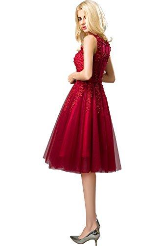 Damen burgunderfarben Königsblau Linie Small Huifany Kleid A rot Xw47dR