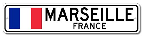 Marseille, France - French Flag Street Sign - Aluminum 4
