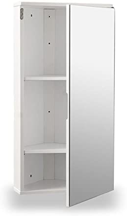 Roman At Home White Gloss Wall Hung Corner Bathroom Cabinet With Single Mirrored Door Amazon Co Uk Kitchen Home