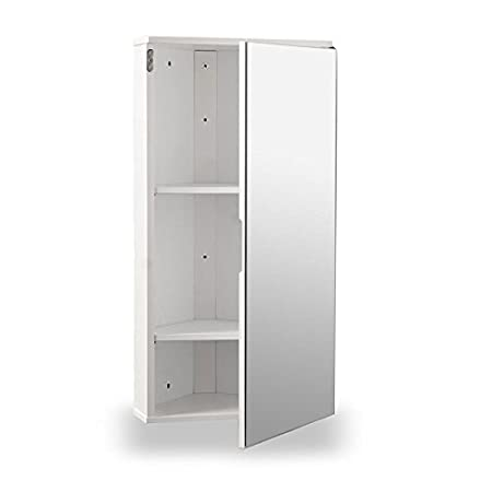 white gloss wall hung corner bathroom cabinet with single mirrored door - Corner Bathroom Cabinet