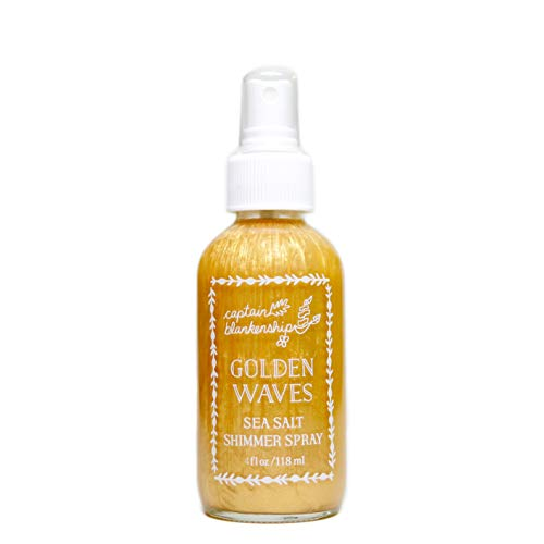 Captain Blankenship Golden Waves Sea Salt Shimmer Hair Spray with Natural Gold Mica, Texturizing and Volumizing, Organic, Paraben Free, Sustainable Packaging, 2 Ounce Spray Bottle, 1 Count