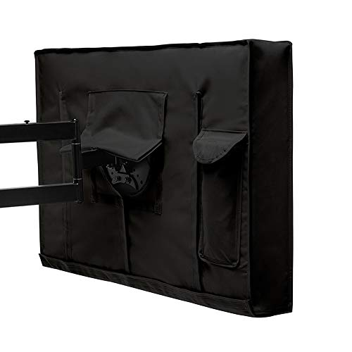 Furniture covers Black Outdoor TV Set Cover, Scratch Resistant Liner & Transparent PVC Film Protect LED Screen Best-Compatible with Standard Mounts and Stands (Size : 60