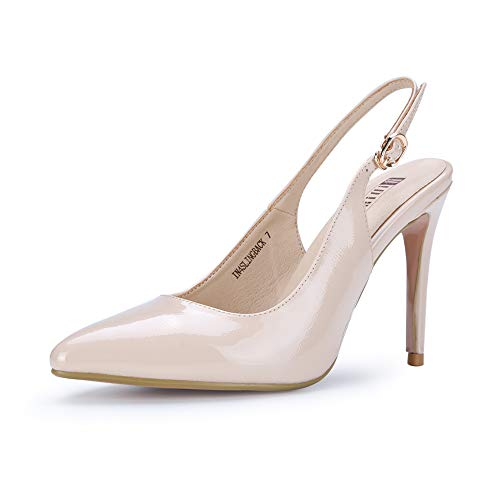 Pointed Slingback - IDIFU Women's IN4 Slingback Pointed Toe Ankle Strap Stiletto High Heel Dress Pump (Nude Patent, 6.5 B(M) US)