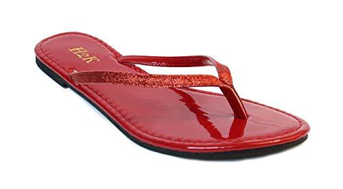 (Women's Glitter Casual Flat Thong Flip Flops Sandals Sassy (10,)