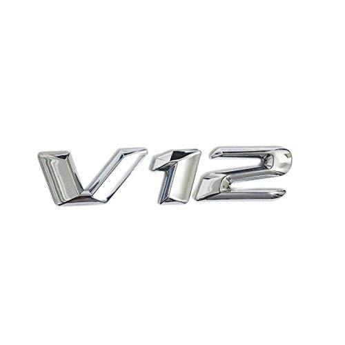 Chrome V12 Symbol Emblem Badge Stickers for Auto Car Side Fenders Window Bumper Exterior Decal (V12 Badge)
