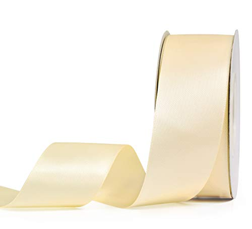 YAMA Double Face Satin Ribbon - 1 1/2 Inch 25 Yards for Gift Wrapping Ribbons Roll, Ivory