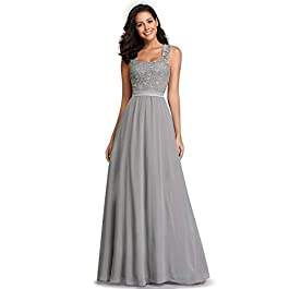 Ever-Pretty Women's Elegant A Line Empire Waist Floor Length Lace Bodice Long Chiffon Bridesmaid Dresses with Stretch Elastic Band up The Back EZ07704