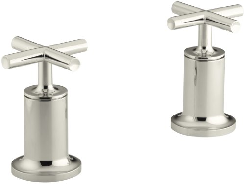 KOHLER K-T14429-3-SN Purist Deck- or Wall-Mount High-Flow Bath Valve Trim with Cross Handle, Valve Not Included, Vibrant Polished Nickel
