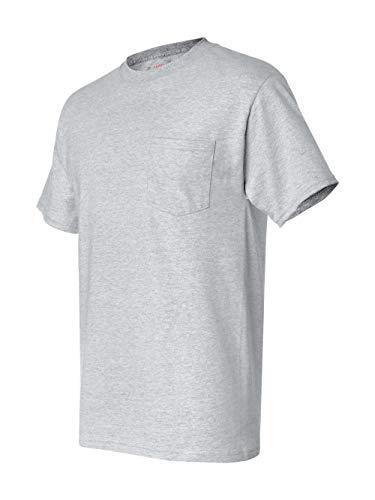 Hanes Short Sleeve Beefy Pocket T-Shirt - 5190, Ash, XXX-Large