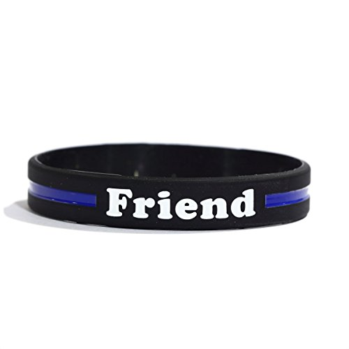 SayitBands Friend Thin Blue Line Silicone Wristband Bracelets Police Officers Patrol Awareness Support