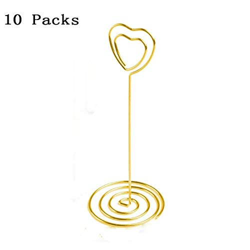 - Gold Heart Shape Photo Holder Stands 10 PCS Table Number Holders Place Card Paper Menu Clips for Weddings(Heart shape)