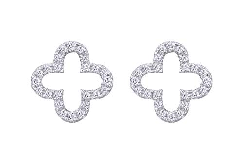 Aria Jewels Minimalist Natural Diamond Accent Clover Stud Earrings in 14K White Gold Plated Sterling Silver for Women (1/10 cttw, I-J Color, I2-I3 Clarity)
