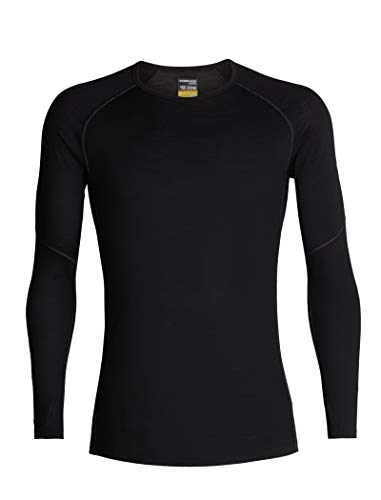 Icebreaker Merino Men's 150 Zone Long Sleeve Crew Neck Shirt, Black/Mineral, Medium