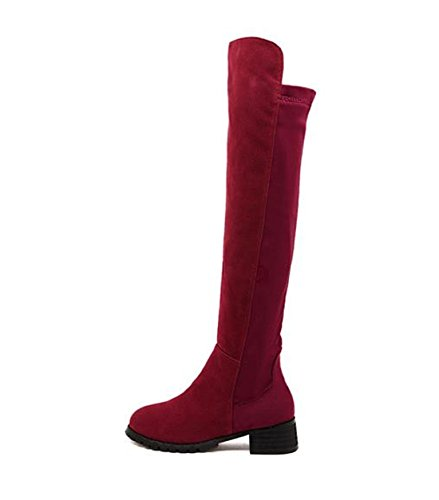 Boots Bottes Leather Winter Shoes Wellies Knee Over Flat Heel Women Faux burgundy Knight PU velvet Chaussures aw5qOf8