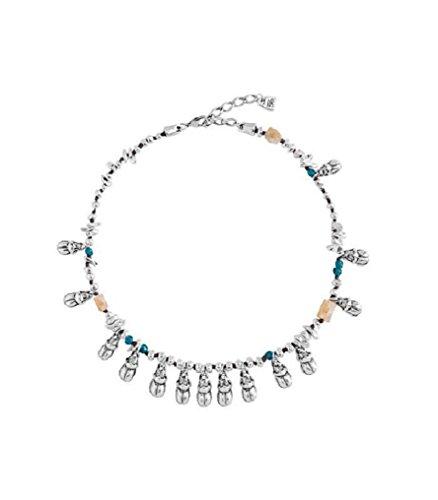 Uno de 50col1081-Suspension avec cordon de coton que association pièces de métal de différentes formes bañadas en argent, cristal fait à la main et pièces de corne.
