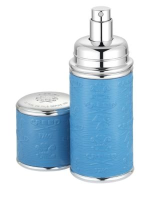 Refillable Leather & Silvertone Pocket Atomizer/Blue