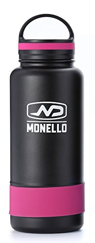 Monello Water Bottle Wide Mouth 32 oz Vacuum Insulated Stainless Steel Hydro Travel Mug - Ice Cold Up to 36 Hrs/Hot 13 Hrs Double Walled Flask - with Strong Cap (Pink)