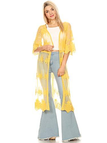 Anna-Kaci Womens Long Embroidered Lace Kimono Cardigan with Half Sleeves, Yellow, OneSize