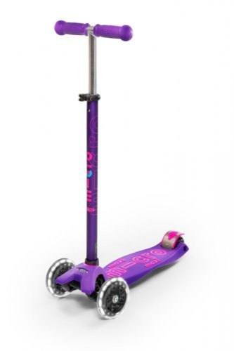 Micro Maxi Deluxe - LED 3-Wheeled, Lean-to-Steer, Swiss-Designed Micro Scooter for Kids with LED Light-up Wheels, Ages 5-12 - Purple