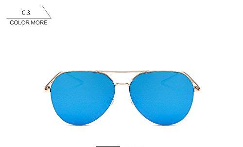 gafas de Piloto Vintage ZHANGYUSEN de mujeres gris de sol espejo sol para Oro aviación Mujer sin de Moda azul de reborde hombre conducción gafas oro p5I5dyq